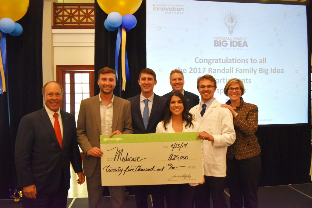 Randall Family Big Idea Competition: MediCase, a phone case that doubles as a pillbox, connected to an app that sends medication reminders, wins the 2017 RFBIC Grand Prize of $25,000.