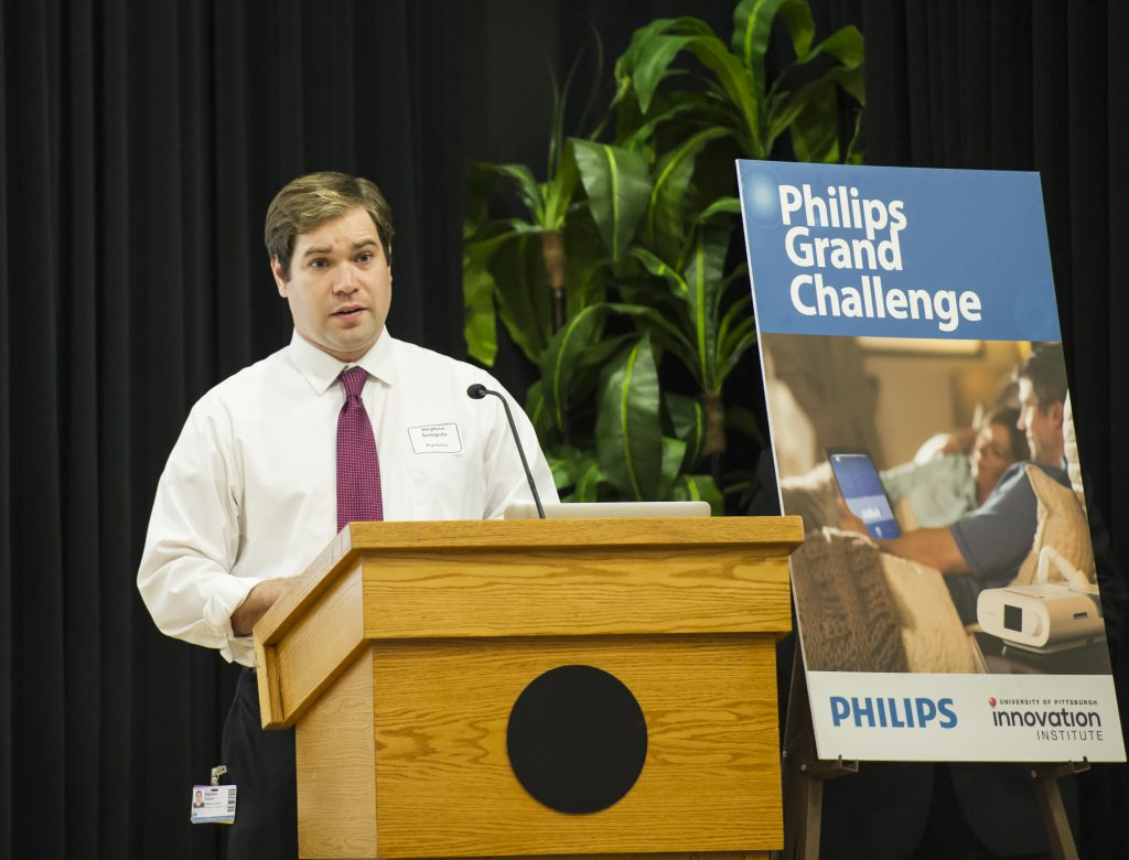 Stephen Smagula is the grand prize Winner of the Phillips Grand Challenge, an innovation challenge sponsored by Phillips, during a reception held at the O'Hara Student Center, Wednesday, November 1, 2017. 1726