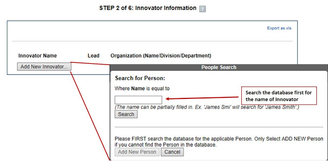 step 2 of 6 innovator information