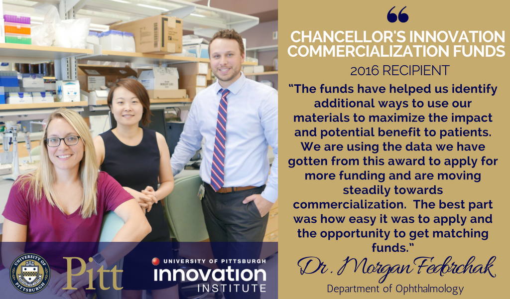 Chancellor's commercialization Innovation Funds Morgan Fedorchak and team of Ocuderm