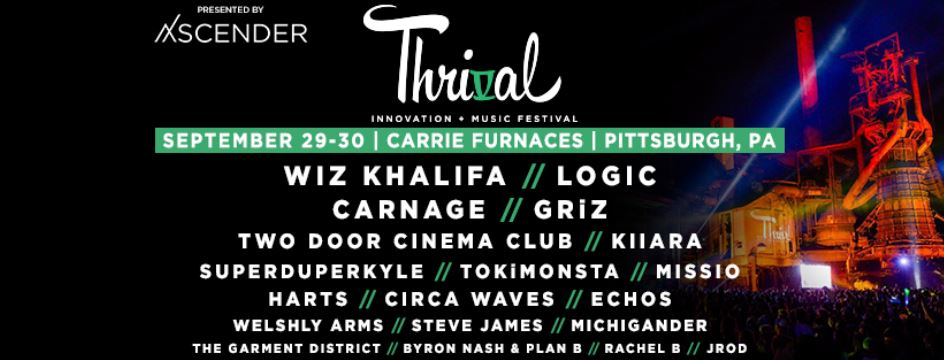 Thrival music festival wiz khalifa logic carnage griz two door cinema club pittsburgh startup events