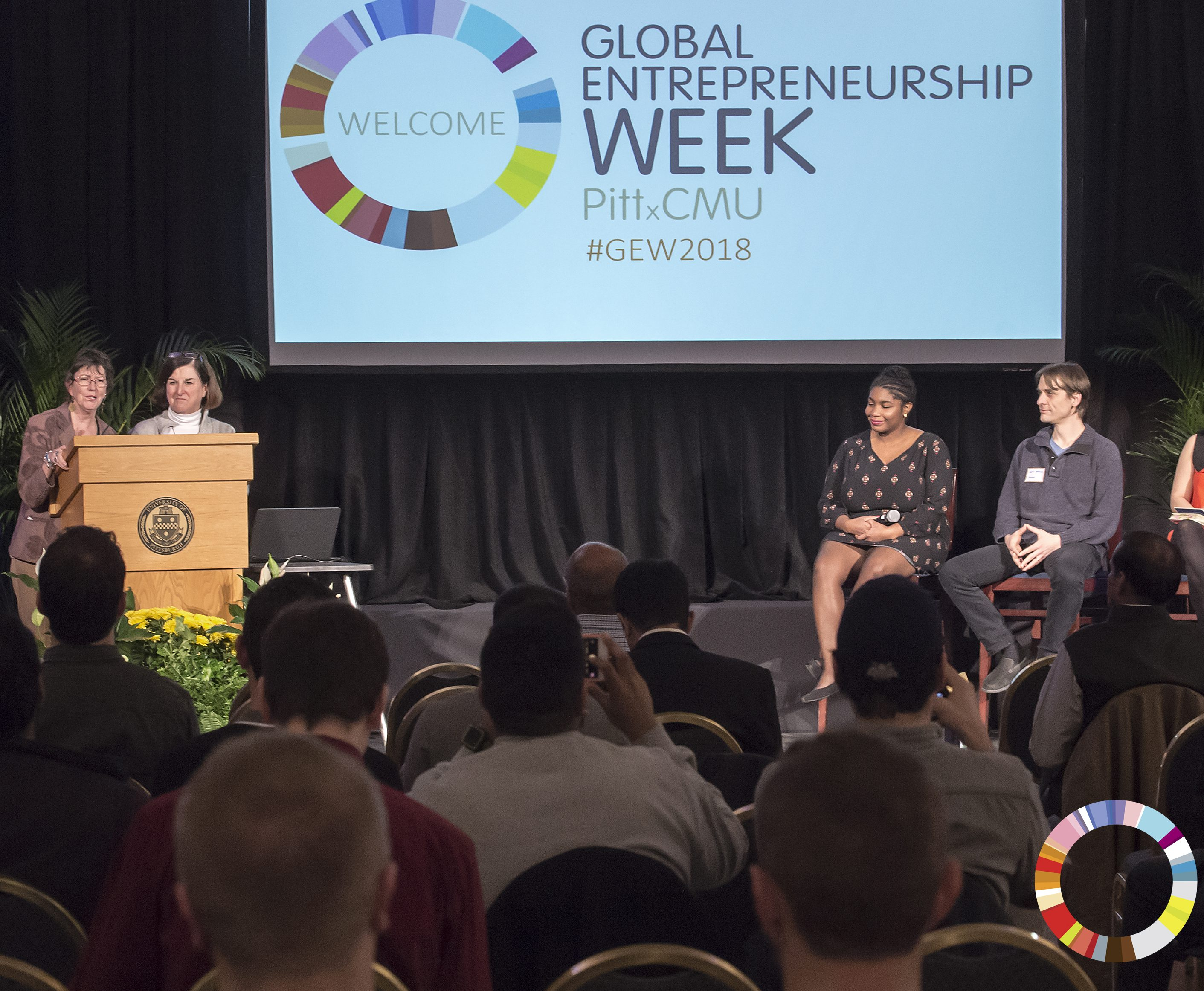 2018 Global Entrepreneurship Week, Steel City Startups event held at the Connolly Ballroom, hosted by Pitt and CMU.