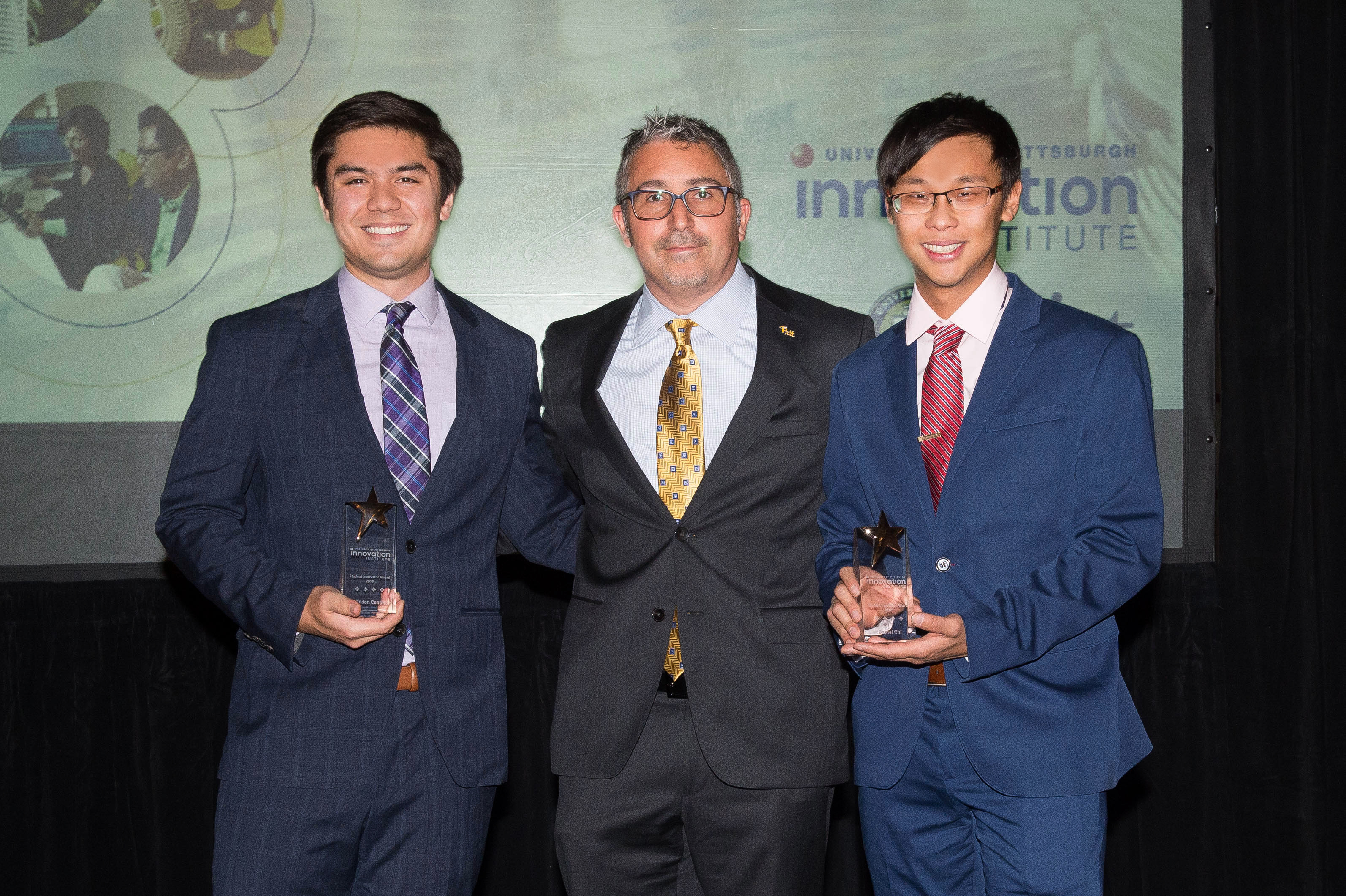 The Student Innovator Award: was presented to Four Growers, Brandon Contino, Electrical Engineering Alumnus and Daniel Chi, Mechanical Engineering Alumnus by Evan Facher, Director of the Innovation Institute & the Vice Chancellor for Innovation & Entrepreneurship at the University of Pittsburgh.