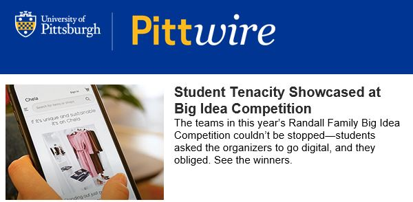 """Pittwire Article """"Student Tenacity Showcased at the Big Idea Competition"""""""
