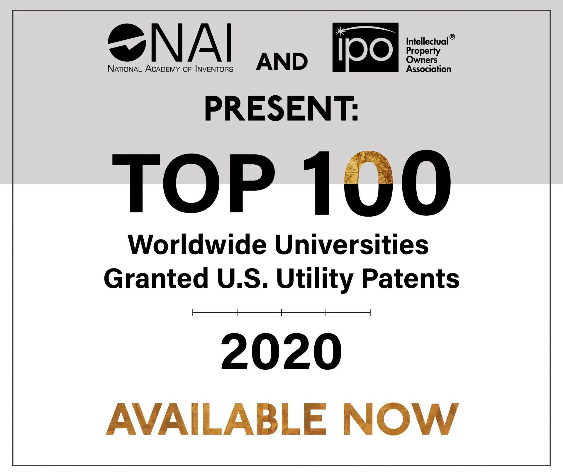 Top 100 Worldwide Universities Granted U.S. Utility Patents 2020